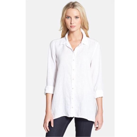 25cc1475 Eileen Fisher Tops - Eileen Fisher white button down Tunic Linen